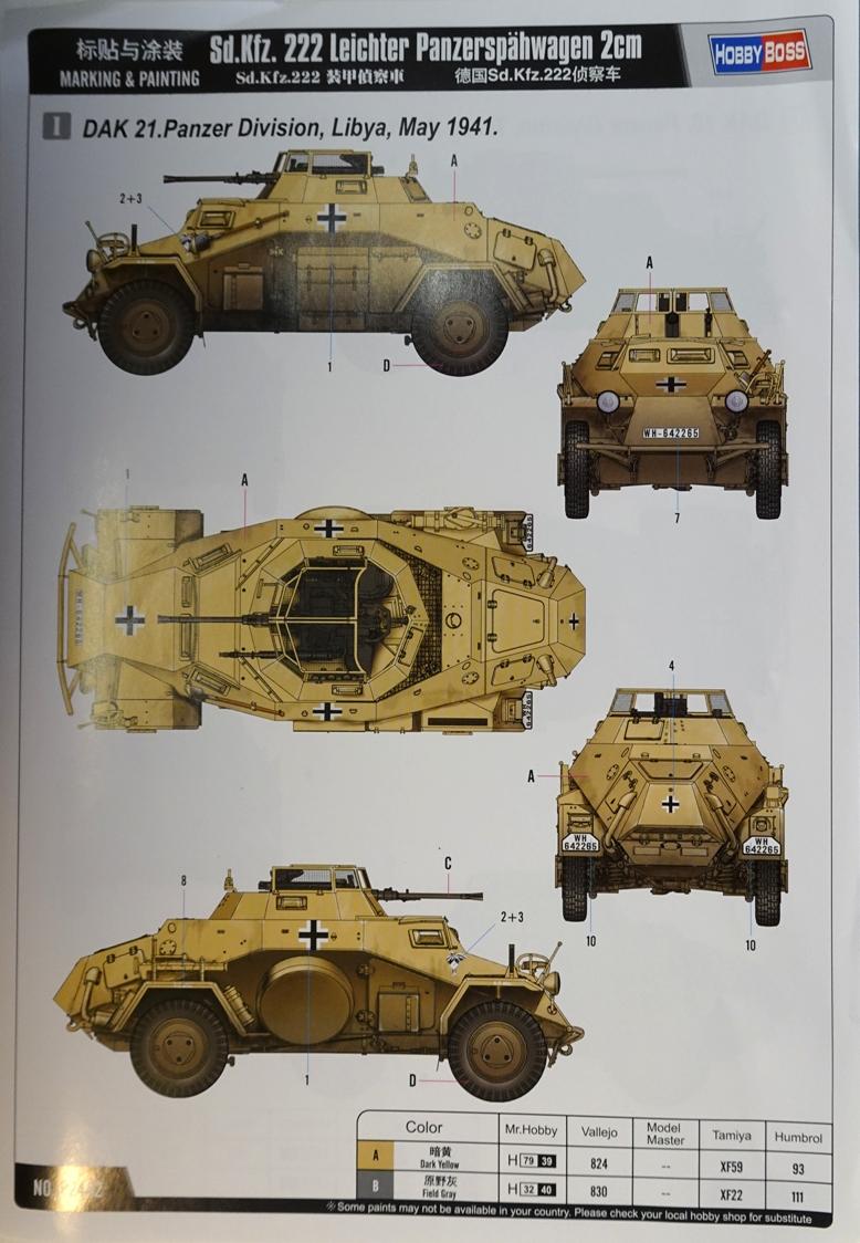 [Hobby Boss 1/35°] Sd.Kfz. 222 Leichter Panzerspähwagen 222-déco