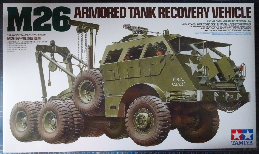 [Tamiya 1/35] M26 Armored tank recovery vehicle réf. 35244 M26-boite